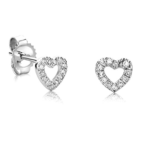 Orovi Ohrstecker Diamant Ohrringe Set ,Herzform Damen Weißgold Ohrstecker 9 Karat (375)Brillanten 0.08crt (Weißgold Ohrstecker Diamant)
