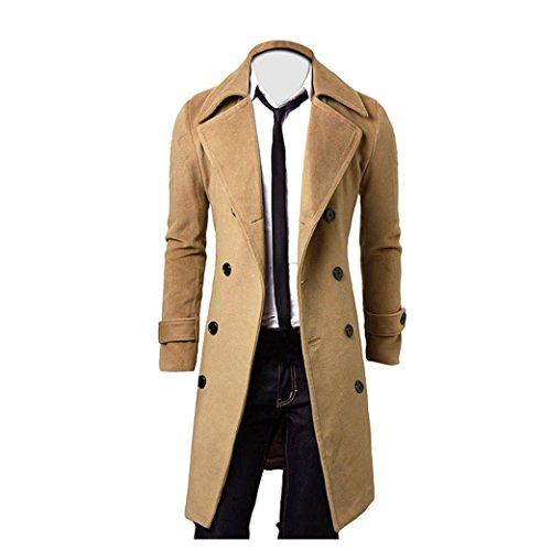 FEITONG Hombres invierno Slim Trench Coat elegante El doble Parka de la chaqueta larga de Breasted outwear la camisa (S=Asian M, Caqui)