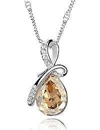 BOOLAVARD Collier pendentif en cristal Angel Love Fashion Eternal Teardrop autrichienne + Boite Cadeau (Champagne Jaune)