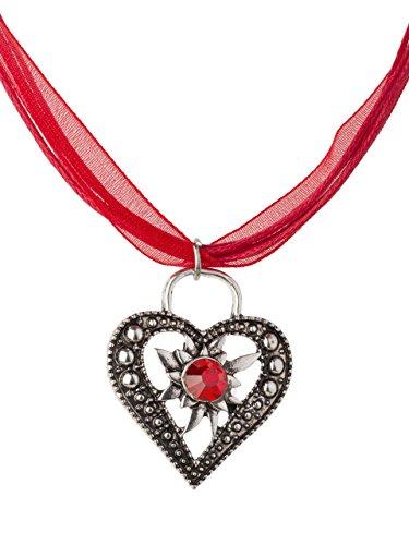 Trachtenkette Wiesnstein eleganter Herz Anhänger mit Strass - viele Farben - Trachtenschmuck Kette für Dirndl und Lederhose (Rot)