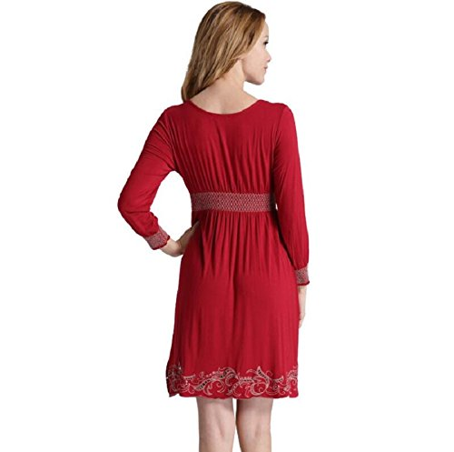 LJ&L La signora grazia a maniche lunghe e l'eleganza slim traforato ricamo confortevoli pigiama camicia da notte molli,black,L Red