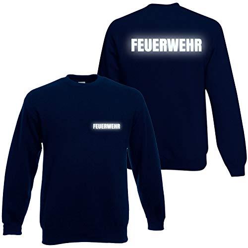 feuerwehr sweatshirt Feuerwehr Sweatshirt Herren Unisex - Reflektierender beidseitiger Aufdruck Brust & Rücken - Viele Dunkelblau (Druck Reflektierend) L