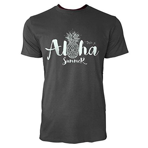 Ananas Aloha Shirt (SINUS ART ® Ananas – Aloha Summer Herren T-Shirts in Smoke Fun Shirt mit tollen Aufdruck)