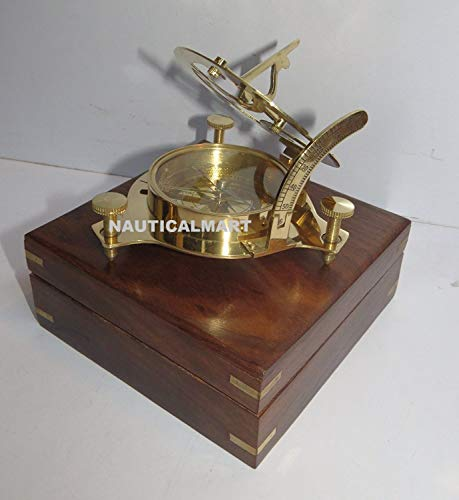Captain brass sundial compass with hardwood wooden box nauticalmart -