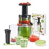 Genius Feelvita Slow Juicer | 12 pièces | Extracteur de jus pour fruits et légumes | Moteur à induction puissant | 100% naturel - 100% vitamines et minéraux pour 100% de fruits.
