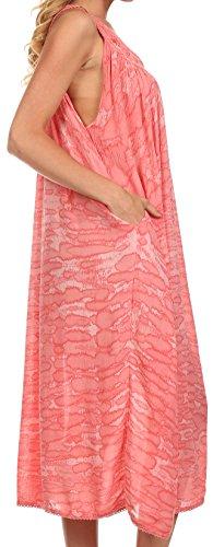 Sakkas Adele Robe/Robe de plage Broderie Pailletée Sans Manches Encolure Dégagée Rose