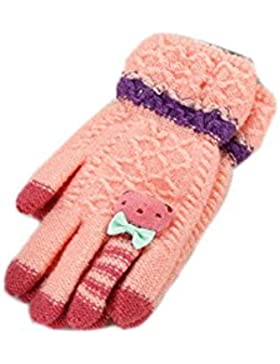 1/2 paia bambini guanti caldi invernali dita, bambini ragazze ragazzi guanti di lana lavorati a maglia dito pieno...