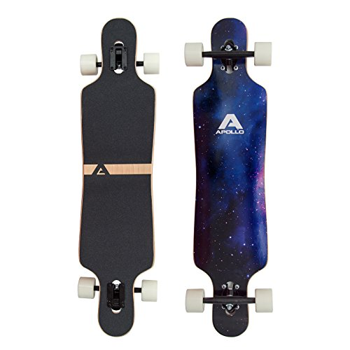 Apollo Longboard Nebula Special Edition Komplettboard mit High Speed ABEC Kugellagern inkl. Skate T-Tool, Drop Through Freeride Skaten Cruiser Boards