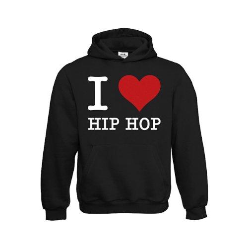 dress-puntos Kinder Kapuzensweatshirt I Love Hip Hop drpt-kh00797-10 Textil black / Motiv weiss Gr. 152/164 (Kleidung Mod)