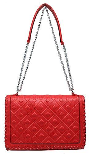 CRAZYCHIC - Borsa a tracolla donna - Patta con modello quadrato - Tracolla Catena - Clutch Rosso