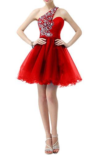 Sunvary Kurz Ein-Schulter Falte Tuell Steine Cocktailkleid Neu Abschlussballkleid Rot