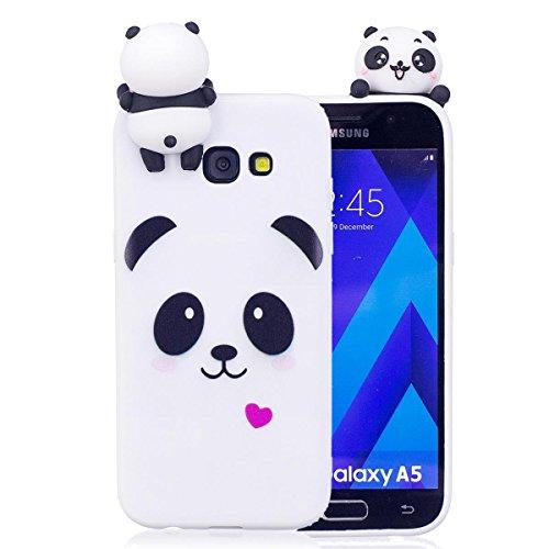 Samsung A5 2017 Hülle, Galaxy A5 2017 Schutzhülle, 3D Panda - Weiß Muster Design Handy Hülle für Samsung Galaxy A5 2017, Ultra Dünn TPU Weich Silikon Handycover Schale Schutzhülle Ultra -
