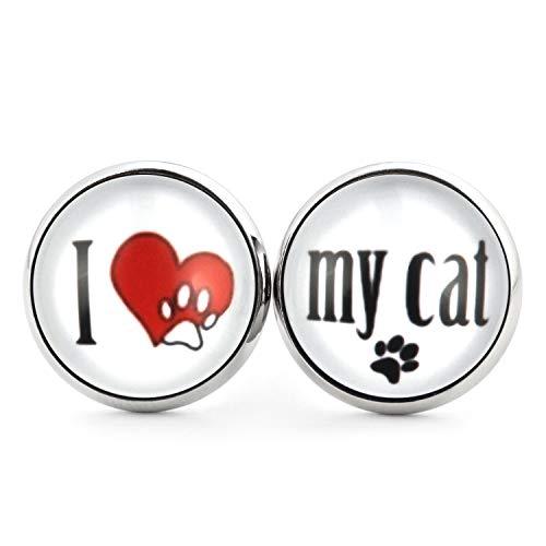 SCHMUCKZUCKER Damen Mädchen Ohrringe Motiv I love my dog - my cat Edelstahl Ohrstecker Hund Katze Silber Weiß I love my Cat 14mm (Süße Katze Kostüme Ideen)