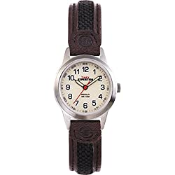 Timex Women's Quartz Watch with White Dial Analogue Display and Brown Leather Strap T41181