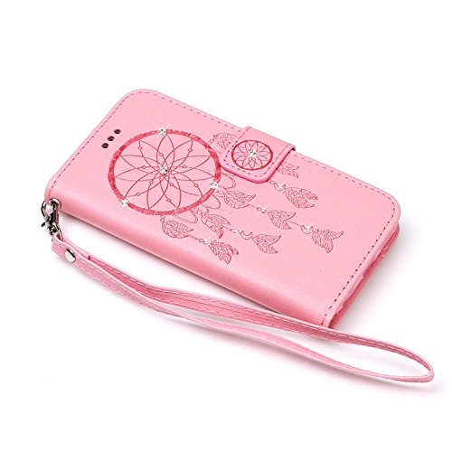 Cover iPhone SE, Custodia per Apple iPhone 5/5S, ISAKEN Custodia Fiore e Ragazza Design PU Pelle Book Folding Case Glitter Bling Cover, Supporto Stand e Porta Carte Integrati Portafoglio Flip Cover co deamcatcher:rosa