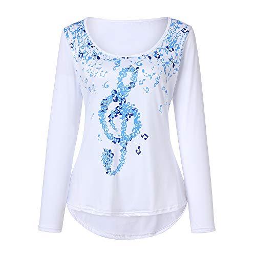 BHYDRY Frauen Langarm Rundhals Unregelmäßige Top Noten Blatt Bluse Shirt Tops(EU-38/CN-S,Blau)
