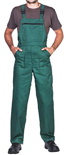 Pantalones con peto de trabajo para hombre, Made in EU, Mono de trabajo, Azur, blanco, rojo, verde, negro (S, Verde)