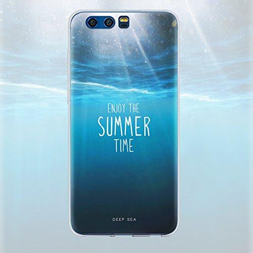 Huawei Honor 9 (5,15 zoll) Schutz Hülle Case in wunderschönem Design Weiches transparentes TPU Landschaft Handyhülle Mountain Berg und Sonne Wolken und Alpen mit Schnee Handy Etui mit Motiv Gel Bumper Pattern 06
