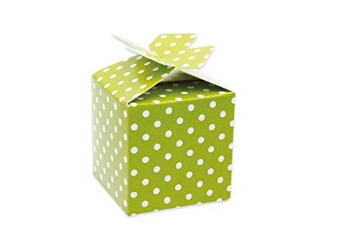 Big party 25 x scatolina portaconfetti cubetto pois vari colori (pois verde mela 81452)