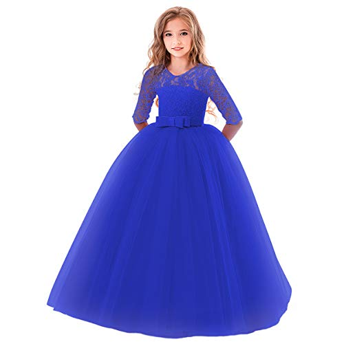 OBEEII Mädchen Festliche Kleider Blumenspitze Kurze Ärmel Elegante Blumenmädchenkleider Kommunionskleid Taufkleidung Kostüm Königsblau 9-10 Jahre (Alt Halloween Kostüme Jahre 10-12)