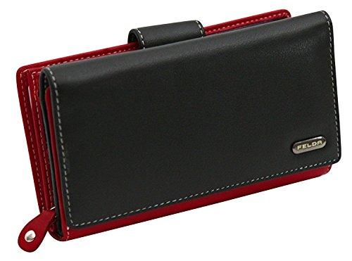 Cartera para mujer - Con bloqueo de transmisiones RFID y 20 ranuras para tarjetas - Cuero auténtico muy suave - Negro y rojo