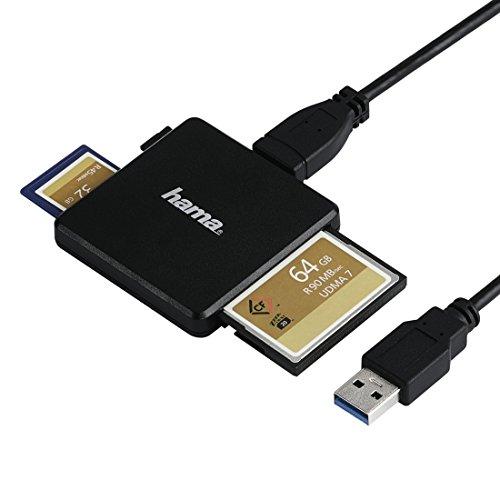Hama USB 3.0 Multi-Kartenleser (Card-Reader für SD/SDHC/SDXC/microSD/microSDHC/microSDXC/CF, UDMA-/UHS-I-fähig, für Windows PCs/Mac/TV, Kabel 0,4m, externes Kartenlesegerät) schwarz