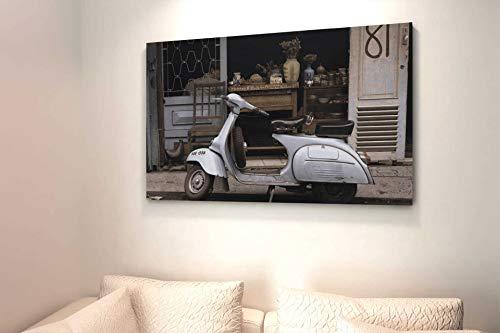 KiarenzaFD Cuadro Vespa Vintage Tela Canvas Moderna Antica Bottega Italia Motociclo, KCA01869-70x50-cm, 70x50 cm