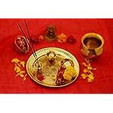 IndianArtVilla Brass Embossed Design Puja Thali, Religious Spiritual Item, Home Temple, 8.5'' Inch