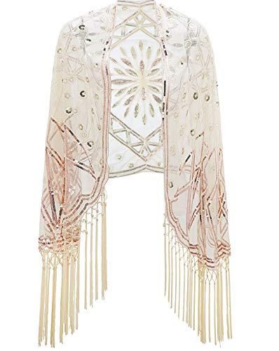 Kostüm Hersteller Tanz - Metme 1920s Retro Schal Damen Umschlagtücher Stola für Abendkleid Hochzeit Party Braut Schal Gatsby Kostüm Accessoires Aprikose