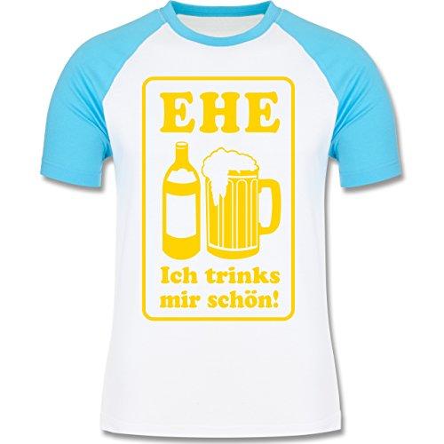 JGA Junggesellenabschied Ehe Ich trinks mir schön zweifarbiges Baseballshirt  für Männer Weiß/Türkis