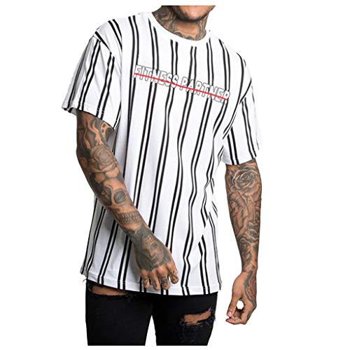 Vertikale Streifen-shirt (Eaylis-Herren tops T-Shirt Kurzarm Farbiges KurzäRmliges Fitness-Oberteil Mit Vertikalen Streifen)