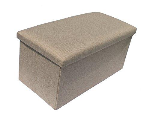 Hocker Sitzhocker Original GMMH 76 x 38 x 38 cm Box Aufbewahrungsbox Sitzwürfel Truhe Fußbank Sitzbank Faltbar Belastbar bis 300 kg (hell beige)