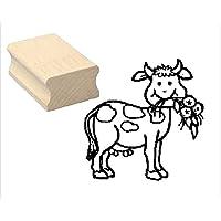 Sello sellos de madera diseño sello « Vaca con flor » Scrapbooking–Embossing kinderstempel Animales sello Niños Jardín Bauer Granja Guardería Infantil