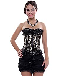 ac9b6297f1 LFFW Satin Lace Trim Corset with Mini Skirt Slim Body Shaper Basque Dress New  Black
