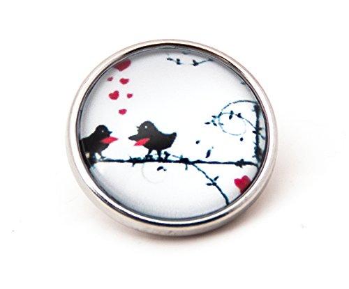 sekka jewelry® Click-Button zwei verliebte kleine Vögel - CH4035