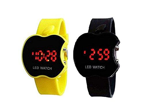 buycrafty amarillo y negro COMBO Apple forma niños Digital LED reloj de pulsera regalo