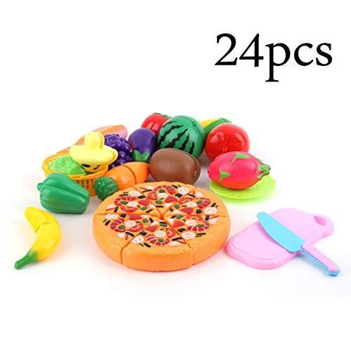 fghdf 24 Teile/satz Kinder Pretend Play Cut Obst Pizza Lebensmittel Spielzeug Kunststoff Kinder Küche Haus Spielzeug Frühe entwicklung