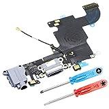 MMOBIEL Dock Connector für iPhone 6S (Schwarz/Space Grey) USB Ladebuchse Flexkabel Ladeport Mikrofon mit Selbstklebender Unterseite inkl 2 x Schraubenzieher für einfachere Installation