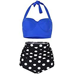 FeelinGirl lunares push up vintage talle alto para mujer azul/negro