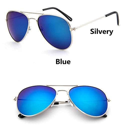 GAOHAITAO Fashion Kids Aviator Sunglasses Kids Boys Girls Design Silver Frame Blue Lens Pilot Sun Glasses for Children,Style 1