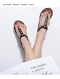 MeiMei Sandales Rétro Perles Hong Mei Pente avec Wild Version Coréenne De Chaussures pour Les Zones Périurbaines