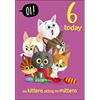 Greeting Card (WDM-438332) - Age 6 Birthday Card - Kittens on Mittens - from The Oi! Range