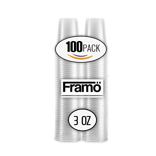 Framo 3Oz Klar Kunststoff Tassen in Bulk für jeden Anlass, BPA frei Einweg Transparent Ice Tee, Saft, Soda, und Kaffee Gläser für Party, Picknick, BBQ, Reisen, und Veranstaltungen, 100Zählen