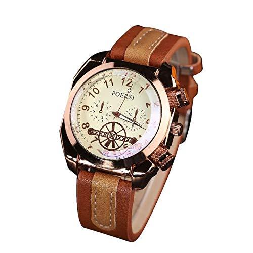 SamMoSon Reloj Relojes Hombre Deportivos Mujer, Relojes De Lujo para Hombres Reloj De Pulsera Deportivo De Cuarzo Analógico De Imitación De Cuero Rojo
