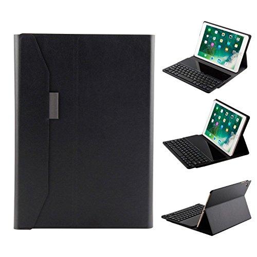 teepao Wireless Bluetooth Tastatur + Ledertasche Schutzhülle Hülle mit Auto Sleep/Wake Für 2018/2017iPad Air 1, 2, iPad 9,7, iPad Pro 24,6cm & iPad 24,6cm (Light Gen Cap 2)