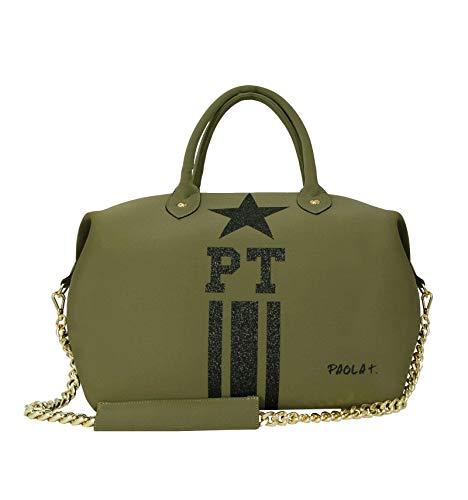 22f140c74e Paola T. Borsa donna bauletto con iniziali personalizzate verde militare in  neoprene