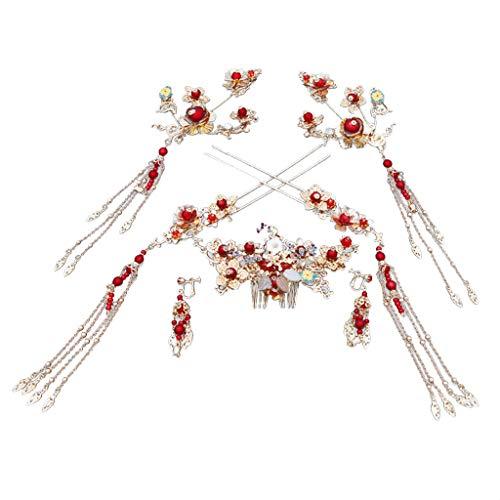 IYHENZ Krone Haarschmuck Hochzeit Kopfschmuck Chinesisch Kostüm Brautkopfschmuck Rot Retro Haarschmuck Brautkleid Zubehör Set Perlen Strass Brautschmuck (1 Set, Silber)
