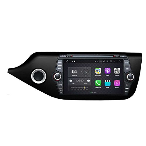 8 Zoll 2 Din Android 7.1 OS Autoradio für Kia Ceed 2014 2015 2016 2017, kapazitiver Touchscreen mit Quad Core 1.6G Cortex A9 CPU 16G Flash und 2G DDR3 RAM GPS Navi Radio DVD Player 3G/WiFi Aux In - Autoradio Touchscreen 2014
