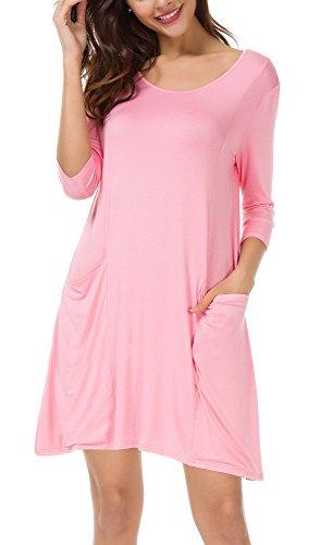 Damen 3/4 Ärmeln T-Shirt Kleid Lose Taschen Stretch Basic Kleider (M, Rosa) (Rosa Kleid Baumwolle Shirt)