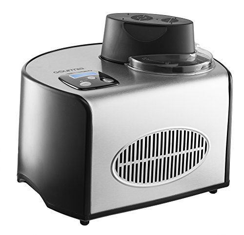 Gourmia Automatic Ice Cream Maker Stainless Steel 1.6 Qt - Built-In Compressor - UK Plug